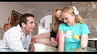 Husband and wife fuck the babysitter 096